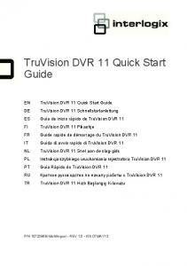 TruVision DVR 11 Quick Start Guide