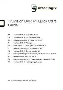 TruVision DVR 41 Quick Start Guide