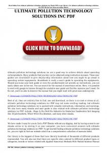 ULTIMATE POLLUTION TECHNOLOGY SOLUTIONS INC PDF