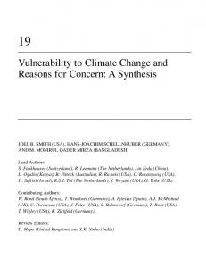 Vulnerability to Climate Change and Reasons for Concern: A Synthesis