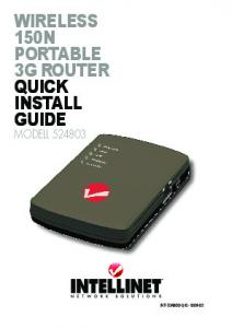 Wireless 150N Portable 3G router quick iNstall Guide - Intellinet Network