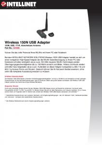 Wireless 150N USB Adapter - Intellinet Network